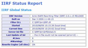 IIRF Status Report